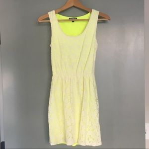 Express Yellow Neon Lace Dress